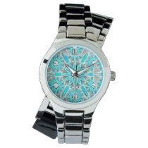 Mandala pattern, turquoise, silver grey and white wristwatch