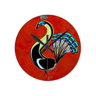 Mandala Peacock Round Clock