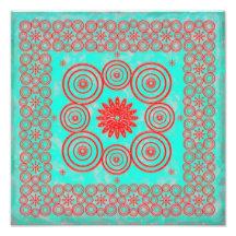 Aqua/Red Mandala pattern