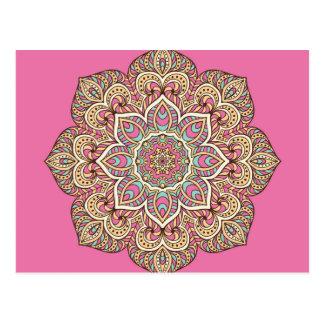 Mandala pink postcard