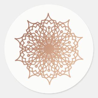 Mandala Pink Rose Gold Blush Bigger Classic Round Sticker