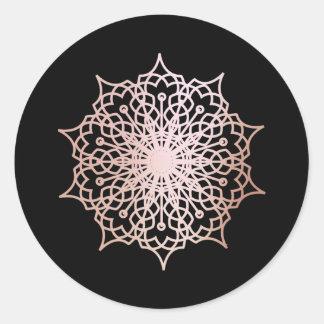 Mandala Pink Rose Gold Blush Black Classic Round Sticker