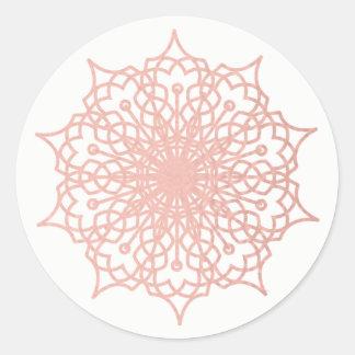 Mandala Pink Rose Gold Blush Classic Round Sticker