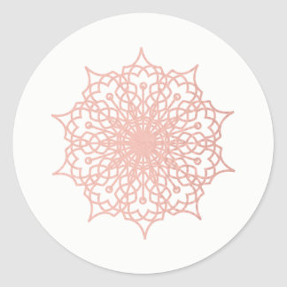 Mandala Pink Rose Gold Blush Version 2 Classic Round Sticker