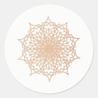Mandala Pink Rose Gold Blush Version 3 Classic Round Sticker