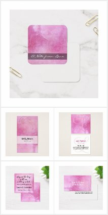 Mandala & Pink Watercolor Boho Business Cards