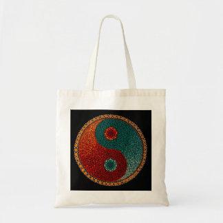 Mandala pintada a mano de Yin Yang Bolsa Tela Barata
