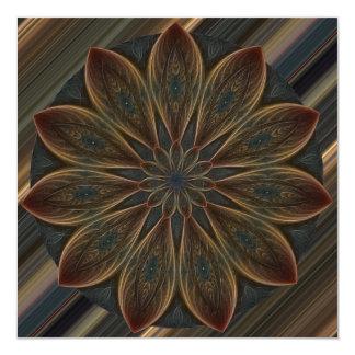 Mandala Plumed del caleidoscopio de los pétalos Invitación 13,3 Cm X 13,3cm