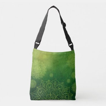 Beach Themed Mandala Print Tote in Greens Lime Teachers Bag