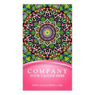 Mandala psicodélica de las hojas plantilla de tarjeta de negocio