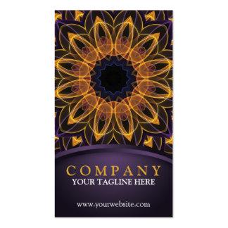 Mandala púrpura amarilla de Lotus Tarjetas De Visita