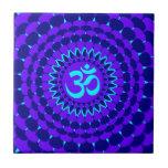 Mandala púrpura azul de la yoga azulejo cerámica