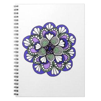Mandala púrpura azul de Zentangle Libretas