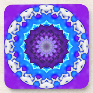 Mandala púrpura blanca azul del caleidoscopio posavasos de bebida