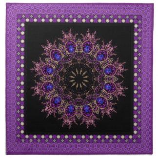 Mandala púrpura brillante servilleta