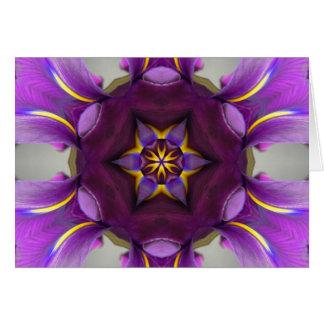 Mandala púrpura de la estrella del iris tarjeta de felicitación