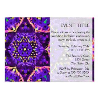 "Mandala púrpura de la estrella invitación 4.5"" x 6.25"""