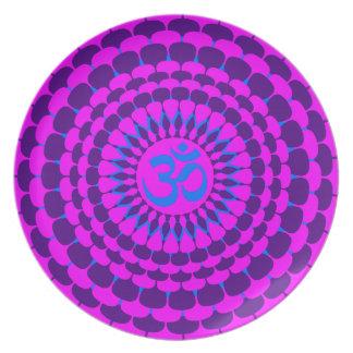 Mandala púrpura rosada de la yoga plato de comida