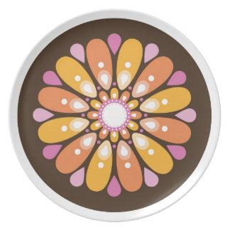 Mandala retra del flower power anaranjado plato