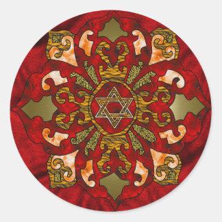 Mandala roja de Jánuca Pegatina Redonda