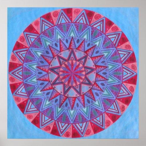 Mandala roja de la luna póster
