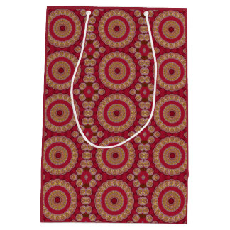 Mandala roja de los rosetones del amarillo del oro bolsa de regalo mediana