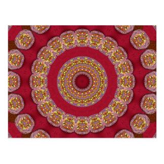 Mandala roja de los rosetones del amarillo del oro tarjetas postales