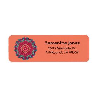Mandala roja de Lotus Etiqueta De Remite
