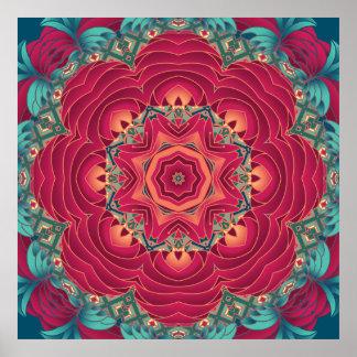 Mandala roja de Lotus Póster