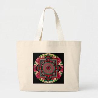 Mandala roja inspirada asiática bolsa tela grande