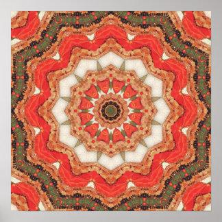 Mandala roja turca cuatro póster