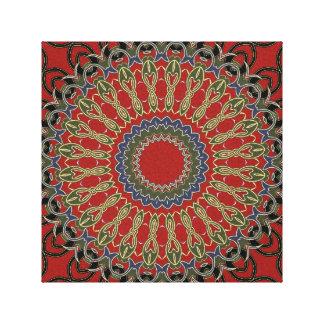 Mandala roja, verde y azul impresión en lona estirada