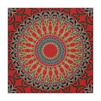 Mandala roja, verde y azul lienzo envuelto para galerías