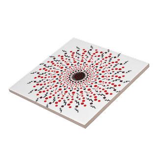 Mandala roja y negra rayos azulejo cuadrado pequeño