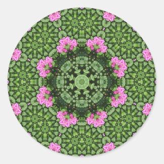 Mandala rosada acodada de Lotus Pegatina Redonda