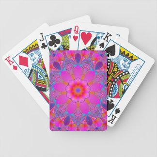 Mandala rosada de la flor baraja de cartas bicycle