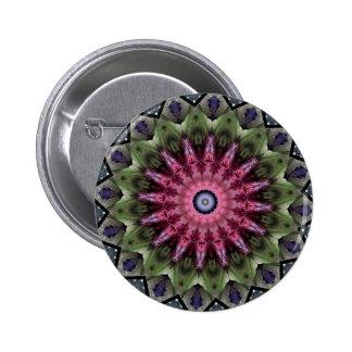 Mandala rosada del caleidoscopio de la flor pin redondo 5 cm