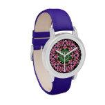 Mandala rosada del Plumeria Relojes De Mano