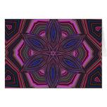 Mandala rosada y azul del caleidoscopio de la flor tarjeta de felicitación