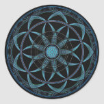 Mandala sagrada de la geometría - dicha pegatina redonda