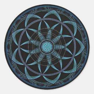 Mandala sagrada de la geometría - dicha pegatinas redondas