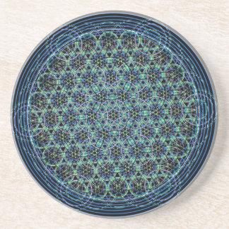 Mandala sagrada de la geometría - flor de la lluvi posavasos cerveza