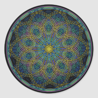 Mandala sagrada de la geometría: Sinceridad - mano Pegatina Redonda