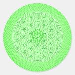 Mandala sagrada psicodélica verde clara de la geom pegatina redonda