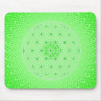 Mandala sagrada psicodélica verde clara de la geom tapetes de ratón