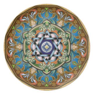 Mandala Shalom Platos Para Fiestas
