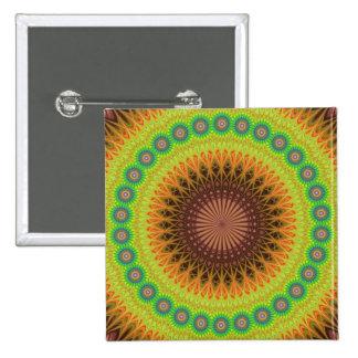 Mandala star circle pinback button