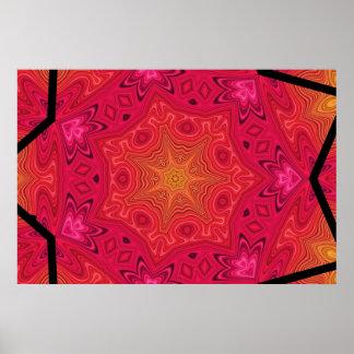Mandala Star in Pink, Orange, and Yellow Poster