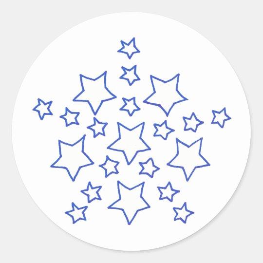 Mandala Star of stars pattern, in blue, stickers