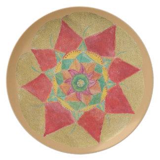Mandala Star Sacred Geometry Melamine Plate